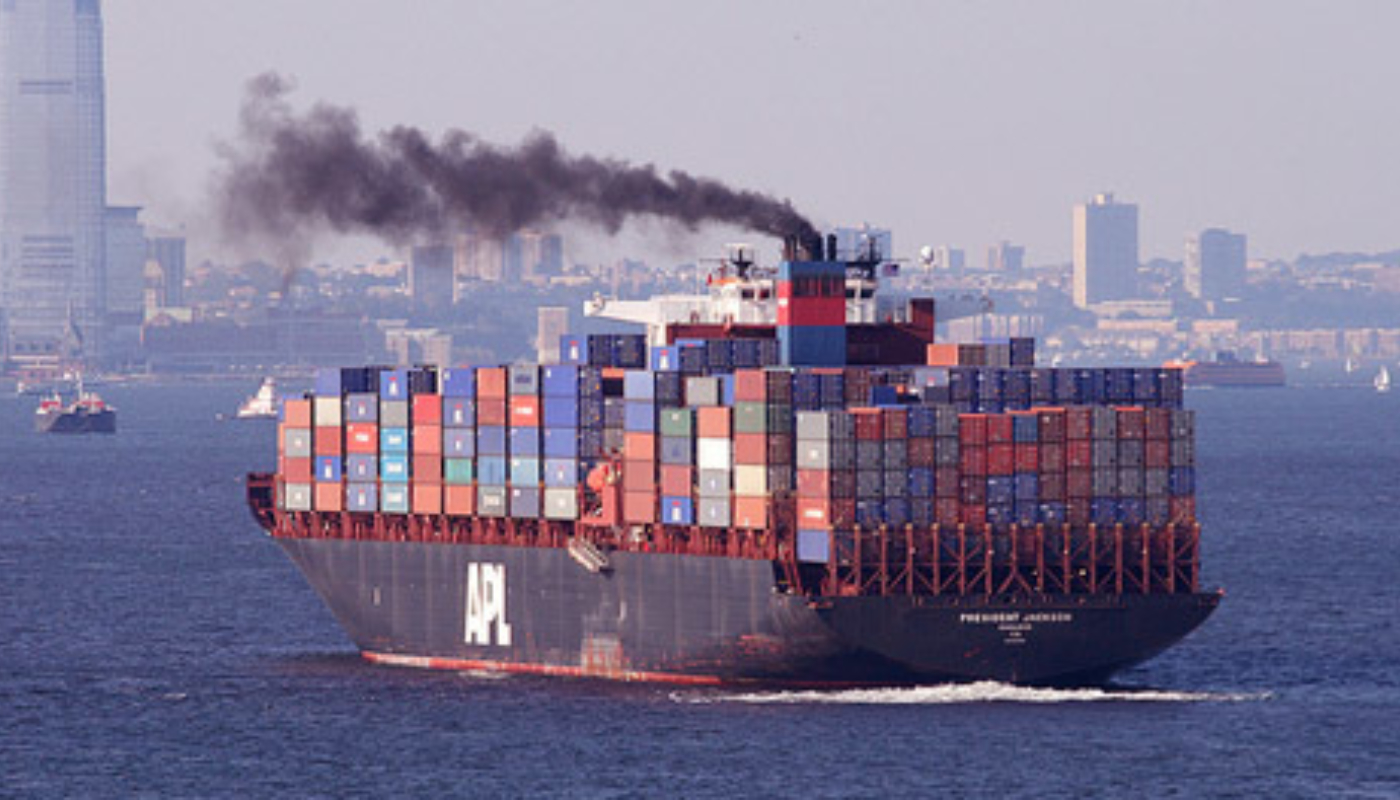 Container Ship Smoke